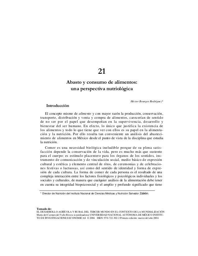 21                         Abasto y consumo de alimentos:                          una perspectiva nutriológica           ...