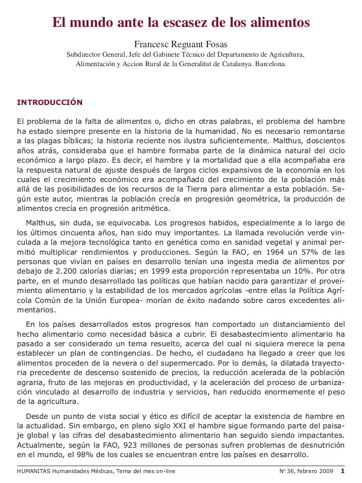 El mundo ante la escasez de los alimentos                                     Francesc Reguant Fosas               Subdire...