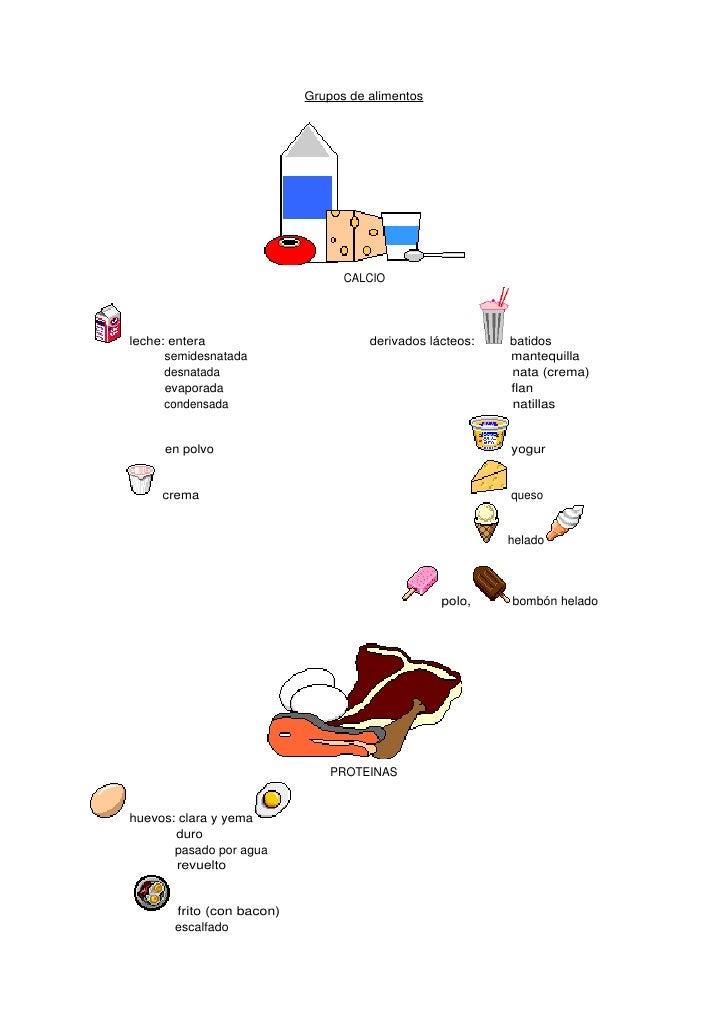 Grupos de alimentos                                      CALCIO     leche: entera                        derivados lácteos...