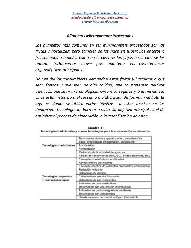 Escuela Superior Politécnica del LitoralManipulación y Transporte de alimentosLeonor Moreira AlvaradoAlimentos Mínimamente...