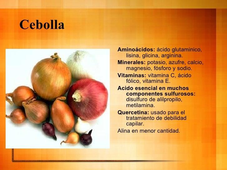 Cebolla <ul><li>Aminoácidos:  ácido glutaminico, lisina, glicina, arginina. </li></ul><ul><li>Minerales:  potasio, azufre,...