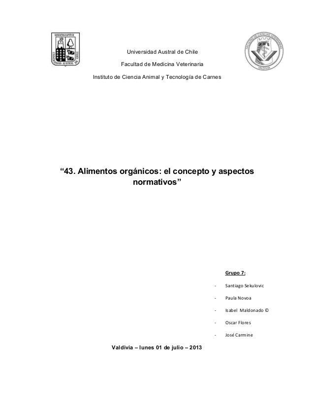 """Universidad Austral de Chile Facultad de Medicina Veterinaria Instituto de Ciencia Animal y Tecnología de Carnes """"43. Alim..."""
