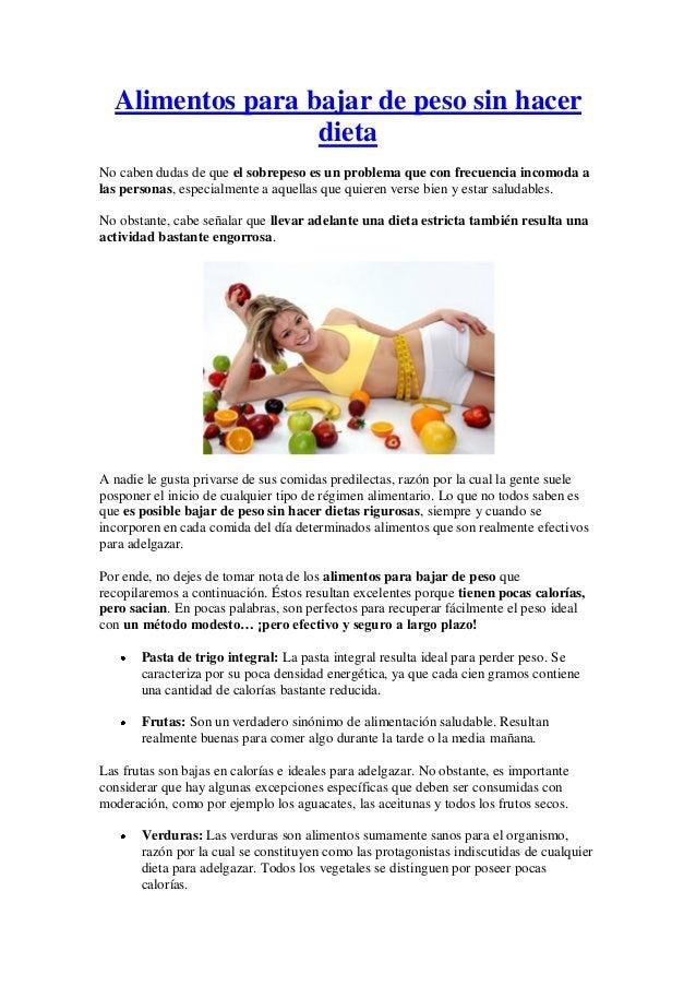 dieta para bajar de peso y estar saludable