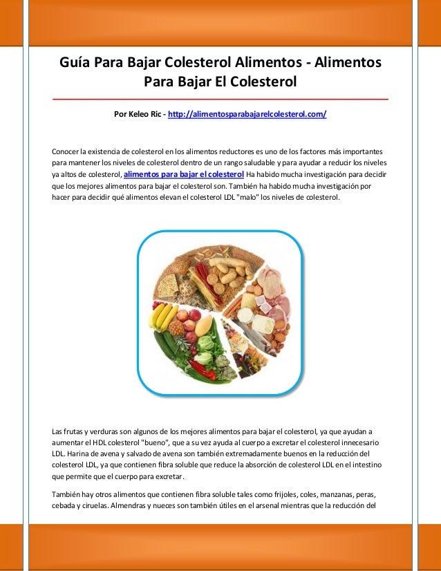 Guía Para Bajar Colesterol Alimentos - Alimentos              Para Bajar El Colesterol____________________________________...