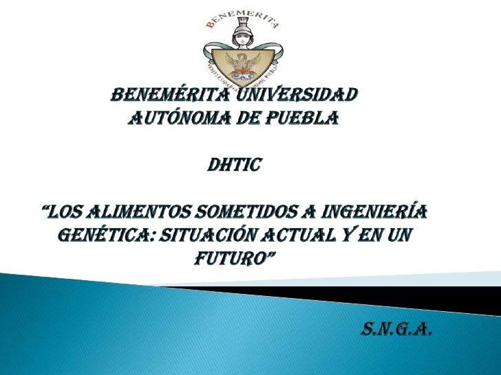 INTRODUCCIÓNTEMA 1: LA INGENIERÍA GENÉTICA Y LOS ALIMENTOSTEMA 2: LOS ALIMENTOS TRANSGÉNICOSSUBTEMA 2.1: ¿QUÉ ES UN ALIMEN...