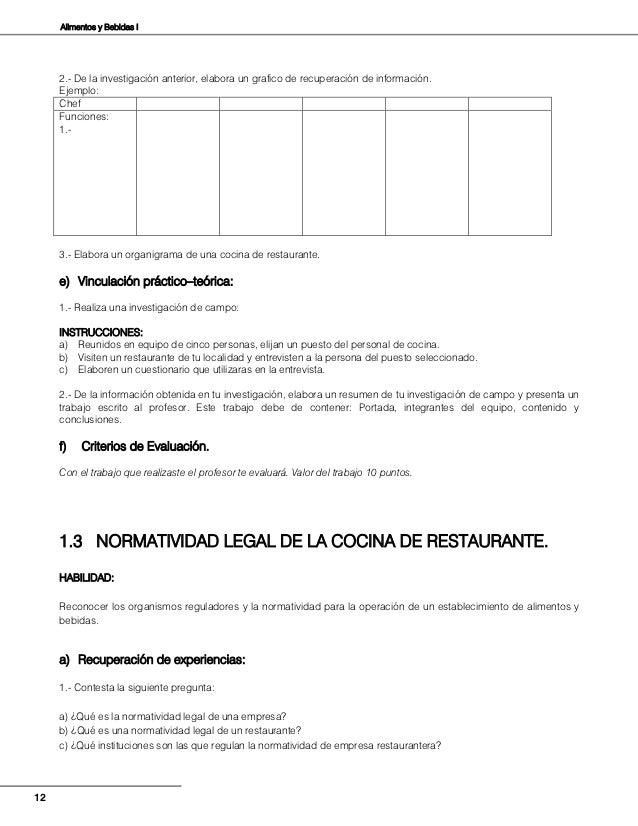 Alimentos y bebidas i for Manual de procedimientos de alimentos y bebidas de un hotel