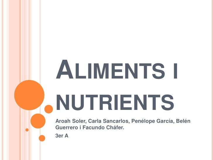 ALIMENTS INUTRIENTSAroah Soler, Carla Sancarlos, Penélope García, BelénGuerrero i Facundo Cháfer.3er A