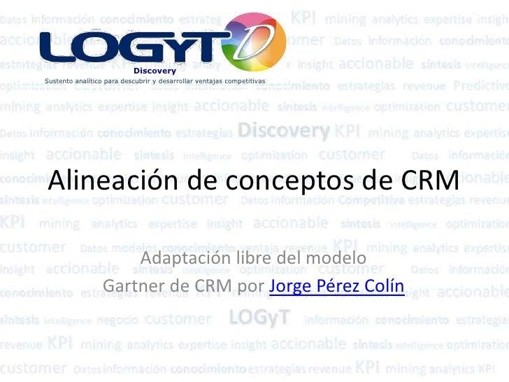 Alineación de conceptos de CRM<br />Adaptación libre del modelo<br />Gartner de CRM por Jorge Pérez Colín<br />
