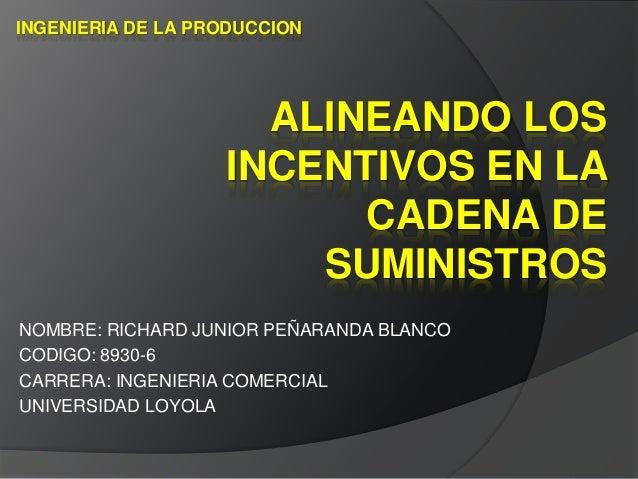 ALINEANDO LOS INCENTIVOS EN LA CADENA DE SUMINISTROS NOMBRE: RICHARD JUNIOR PEÑARANDA BLANCO CODIGO: 8930-6 CARRERA: INGEN...