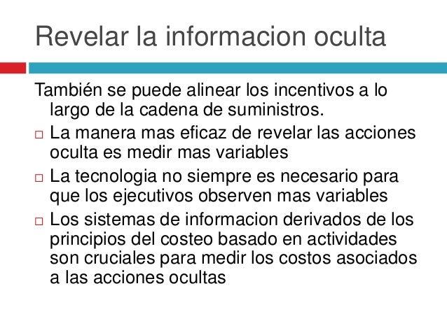 Revelar la informacion oculta También se puede alinear los incentivos a lo largo de la cadena de suministros.  La manera ...