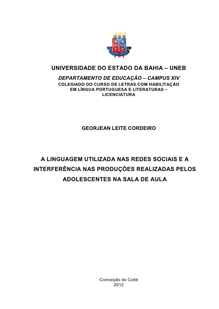 UNIVERSID         RSIDADE DO ESTADO DA BAHIA – UNEB                               AHIA      DEPARTA           TAMENTO DE E...