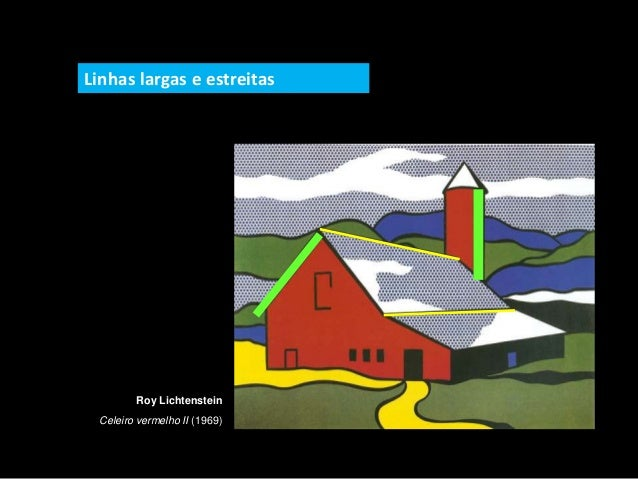Roy Lichtenstein Celeiro vermelho II (1969) Linhas largas e estreitas