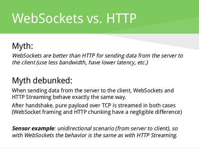 WebSockets vs. HTTP Myth: WebSockets are better than HTTP for sending data from the server to the client (use less bandwid...