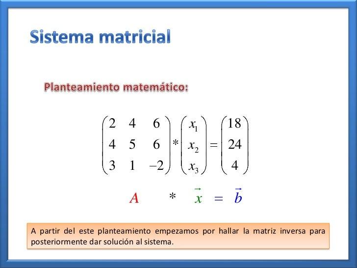 Solucion de sistemas de ecuaciones por el metodo de matrices