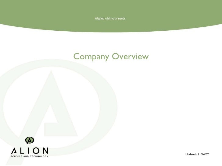 Company Overview Updated: 11/14/07