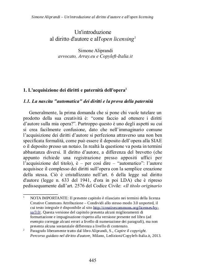 Simone Aliprandi – Un'introduzione al diritto d'autore e all'open licensing Un'introduzione al diritto d'autore e all'open...
