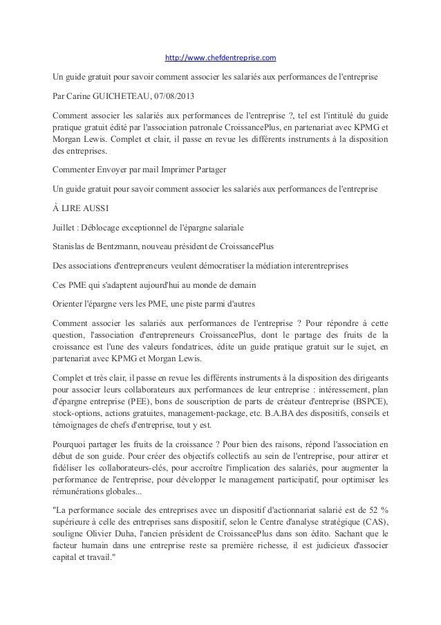 http://www.chefdentreprise.com Un guide gratuit pour savoir comment associer les salariés aux performances de l'entreprise...