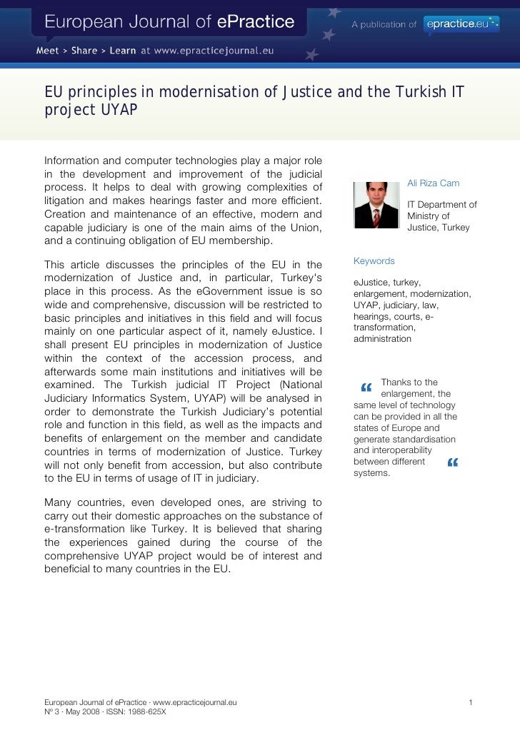EU principles in modernisation of Justice and the Turkish IT project UYAP   Information and computer technologies play a m...