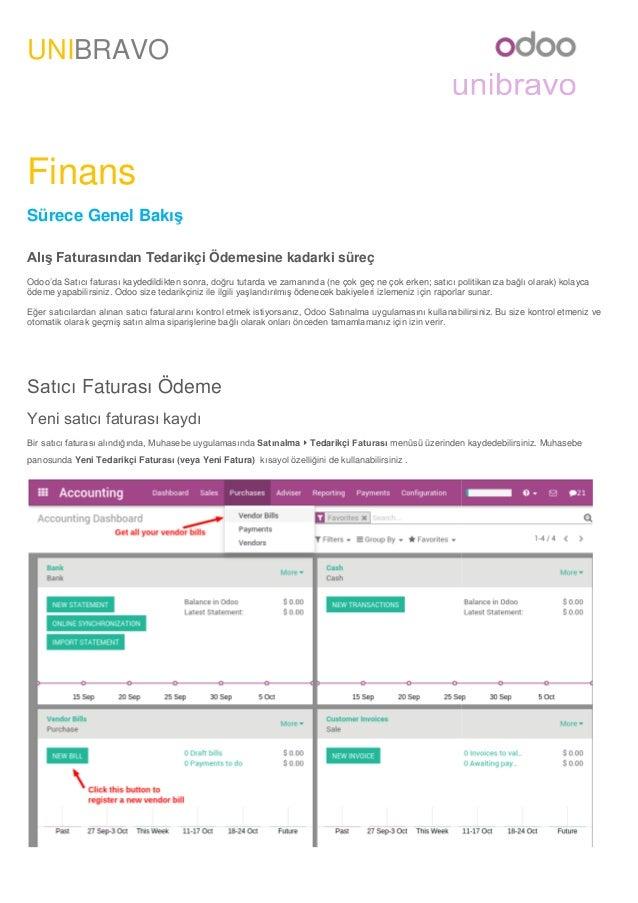 UNIBRAVO Finans Sürece Genel Bakış Alış Faturasından Tedarikçi Ödemesine kadarki süreç Odoo'da Satıcı faturası kaydedildik...