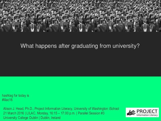 from University? hashtag for today is #lilac16 What happens after graduating from university? Alison J. Head, Ph.D., Proje...