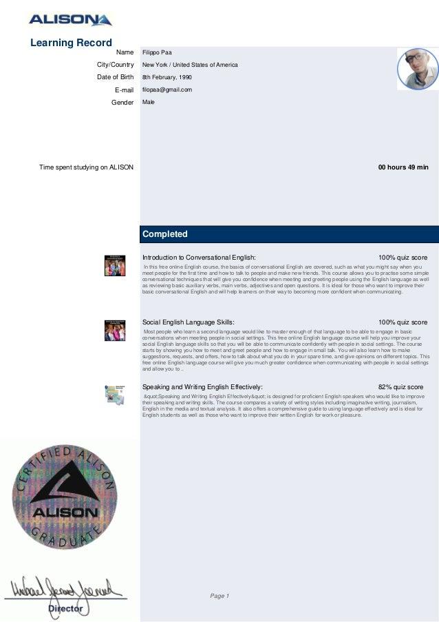 alison com online course certifications transcript