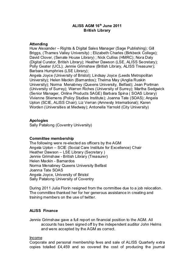 ALISS AGM 16th June 2011                             British LibraryAttendingHuw Alexander – Rights & Digital Sales Manage...