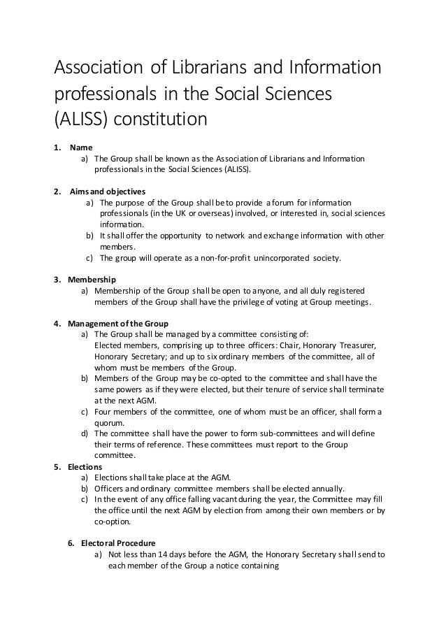 Association of Librarians and Information professionals in the Social Sciences (ALISS) constitution 1. Name a) The Group s...