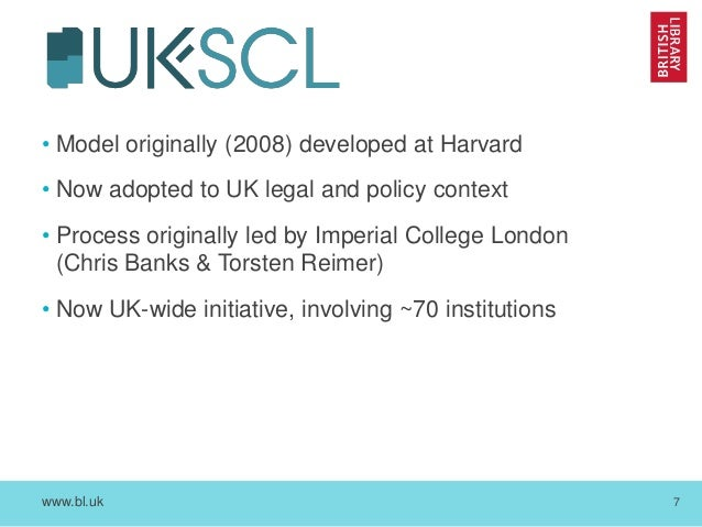 www.bl.uk 7 • Model originally (2008) developed at Harvard • Now adopted to UK legal and policy context • Process original...
