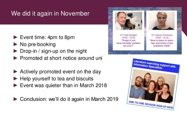We did it again in November ► Event time: 4pm to 8pm ► No pre-booking ► Drop-in / sign-up on the night ► Promoted at short...