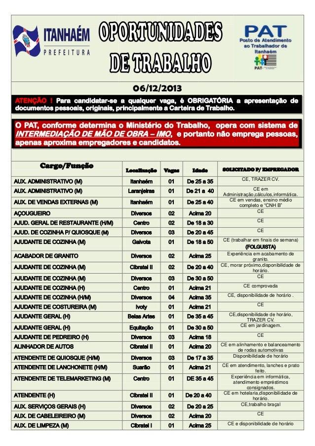 06/12/2013 ATENÇÃO ! Para candidatar-se a qualquer vaga, é OBRIGATÓRIA a apresentação de documentos pessoais, originais, p...
