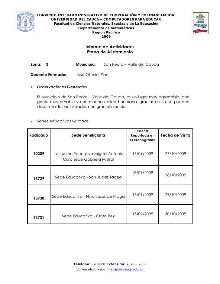 CONVENIO INTERADMINISTRATIVO DE COOPERACIÓN Y COFINANCIACIÓN          UNIVERSIDAD DEL CAUCA – COMPUTADORES PARA EDUCAR    ...