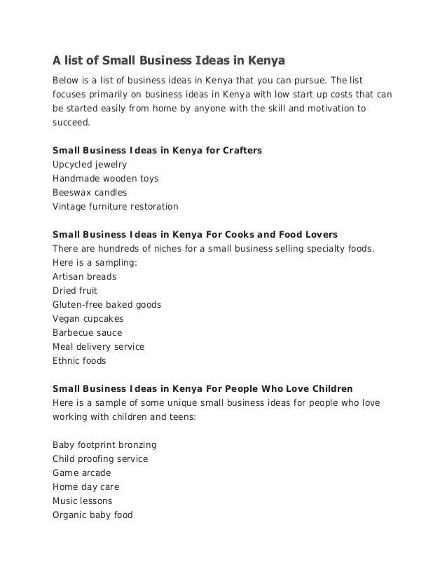 List Of Unique Business Ideas
