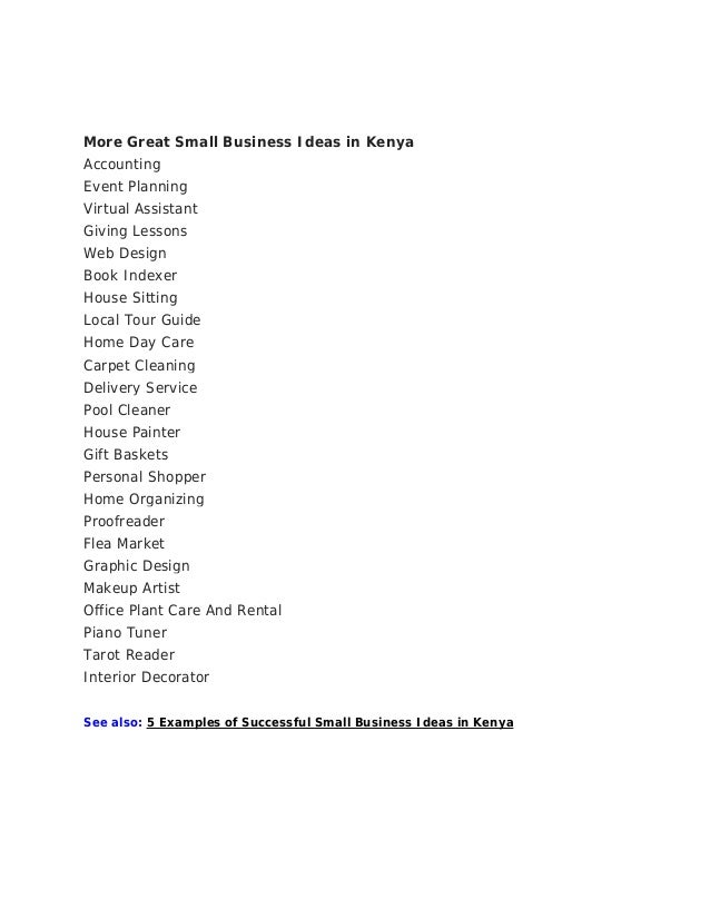 List Of Business Ideas