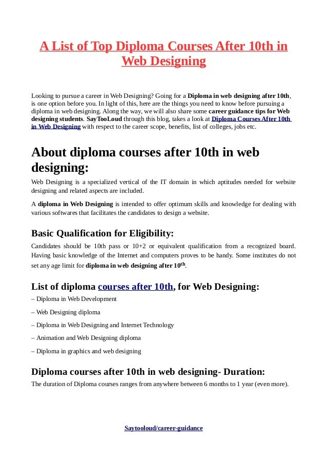 A list of top diploma courses after 10th in web designing