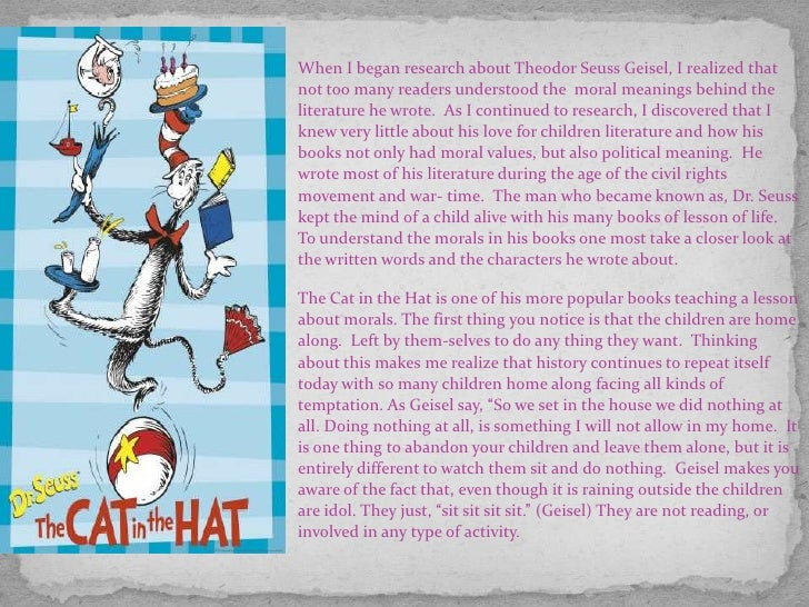 hidden symbolism and moral and political messages in dr seuss children books The hidden army produced by the us  the political dr seuss  presents films explaining how 1960's activism threatened american moral,.