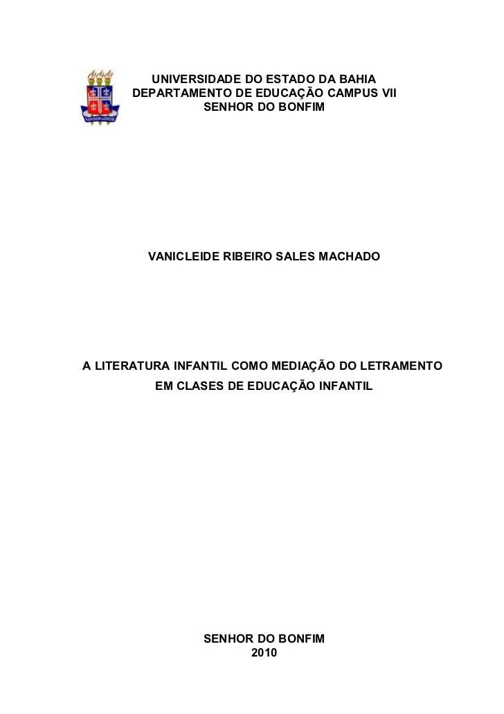 UNIVERSIDADE DO ESTADO DA BAHIA      DEPARTAMENTO DE EDUCAÇÃO CAMPUS VII               SENHOR DO BONFIM        VANICLEIDE ...
