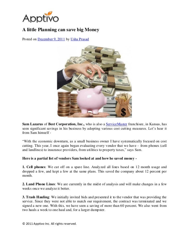 A little Planning can save big MoneyPosted on December 9, 2011 by Usha PrasadSam Lazarus of Best Corporation, Inc., who is...