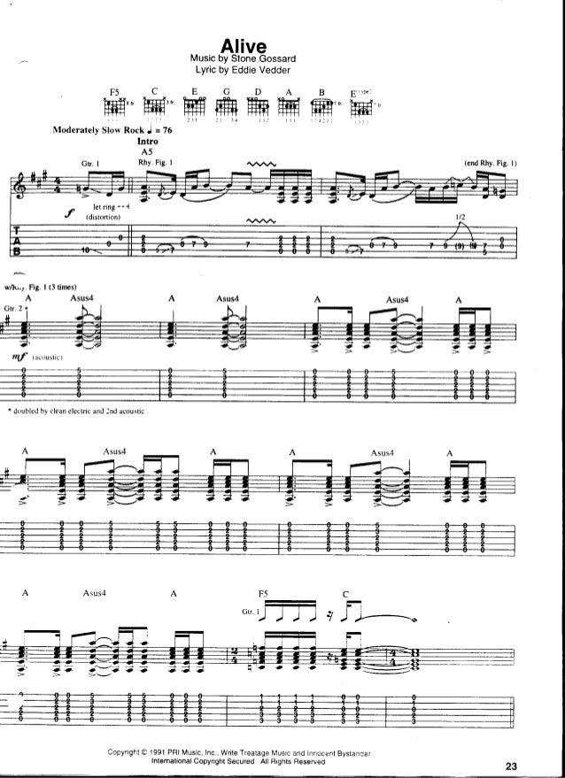 Pearl Jam tablatura e partitura de guitarra de Alive