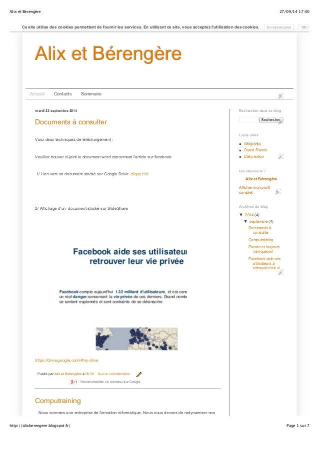 Alix et Bérengère 27/09/14 17:40  Ce site utilise des cookies permettant de fournir les services. En utilisant ce site, vo...