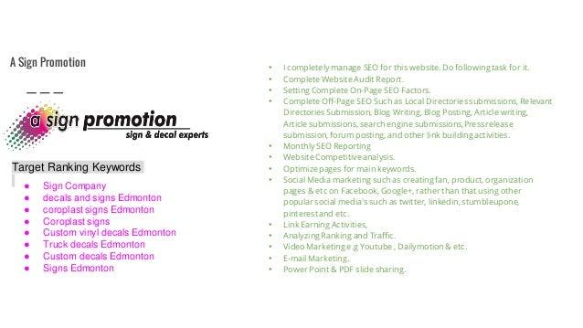 My Working Portfolio As A Digital Media Marketer - Custom vinyl decals edmonton