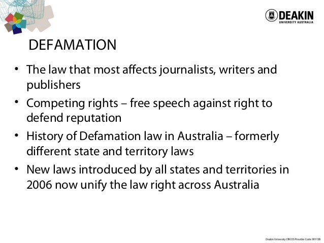 defamation in law Defamation is an area of law that provides a civil remedy when someone's words end up causing harm to your reputation or your livelihood libel is a written or published defamatory.