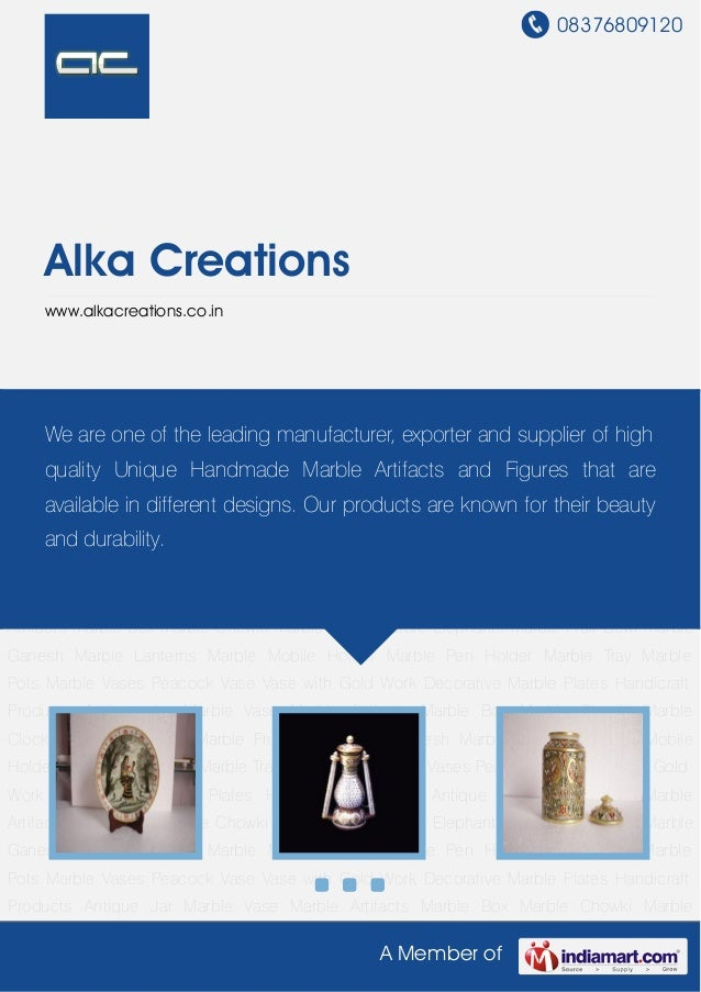 08376809120A Member ofAlka Creationswww.alkacreations.co.inDecorative Marble Plates Handicraft Products Antique Jar Marble...