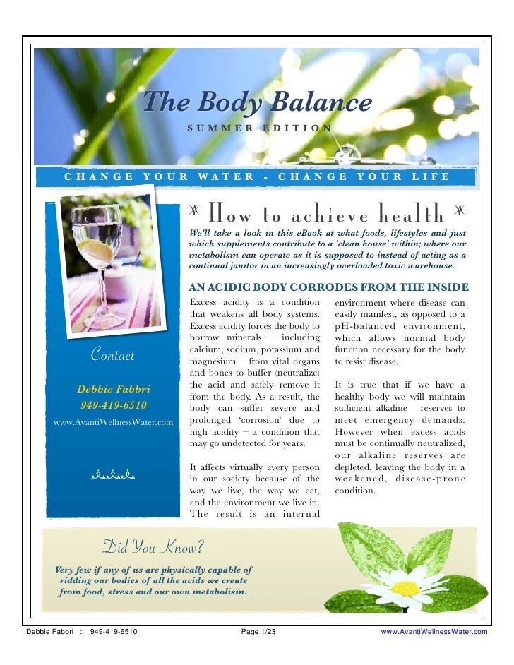 The Body Balance                                       SUMMER EDITION             CHANGE YOUR WATER - CHANGE YOUR LIFE    ...