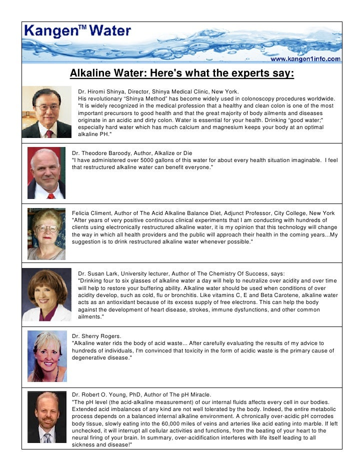 Alkaline Water: Here's what the experts say:   Dr. Hiromi Shinya, Director, Shinya Medical Clinic, New York.   His revolut...
