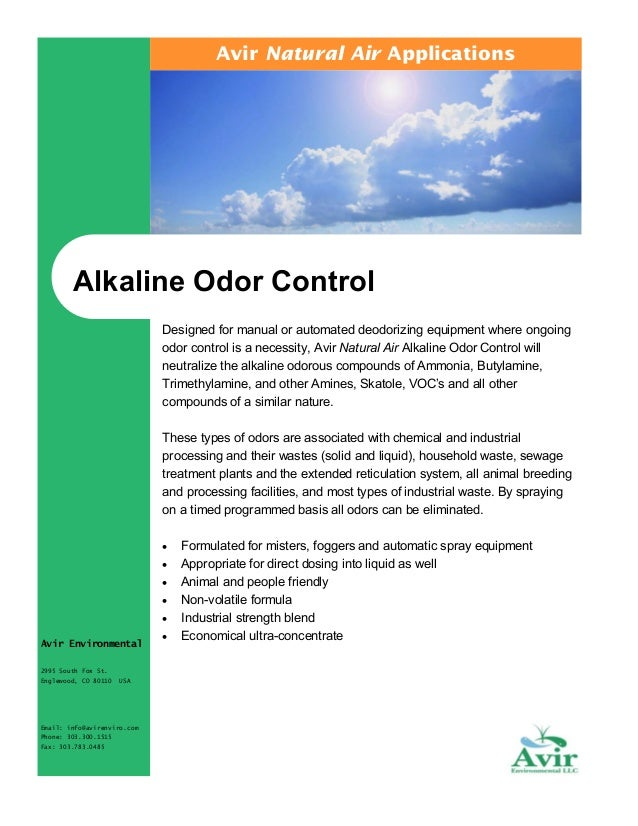 Avir Natural Air Applications  Alkaline Odor Control Designed for manual or automated deodorizing equipment where ongoing ...