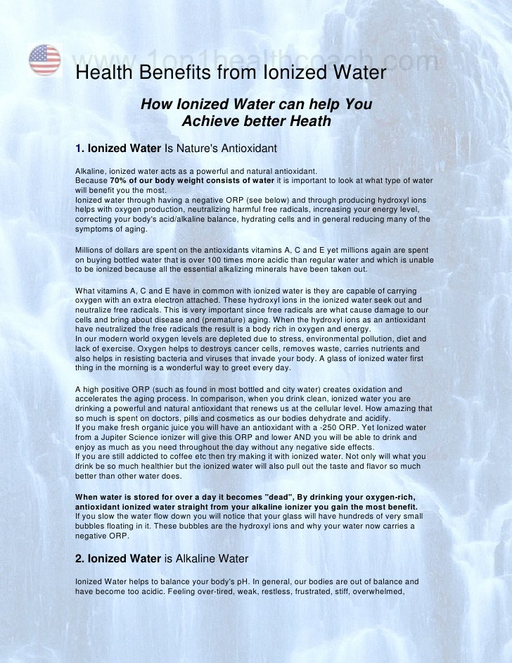 www.1on1healthcoach.com Health Benefits from Ionized Water                   How Ionized Water can help You               ...
