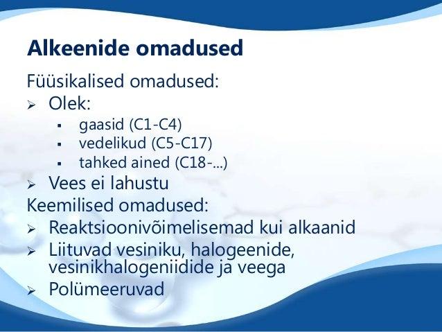 Alkeenide omadused Füüsikalised omadused:  Olek:      gaasid (C1-C4) vedelikud (C5-C17) tahked ained (C18-...)  Vees e...