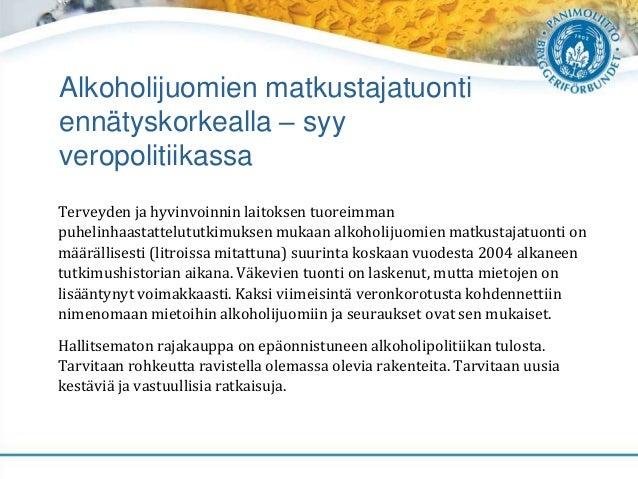 Alkoholijuomien matkustajatuonti ennätyskorkealla – syy veropolitiikassa Terveyden ja hyvinvoinnin laitoksen tuoreimman pu...