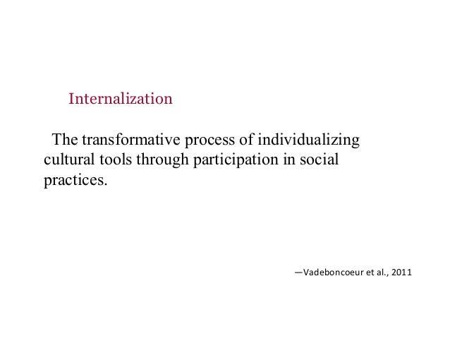 The transformative process of individualizing cultural tools through participation in social practices. —Vadeboncoeureta...