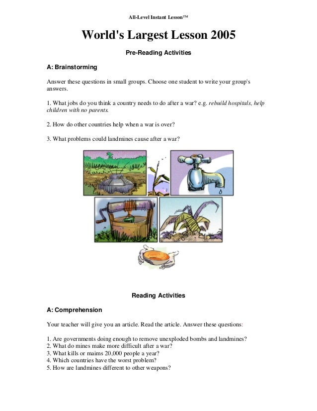 All-Level Instant Lesson™ World's Largest Lesson 2005 Pre-Reading Activities A: Brainstorming Answer these questions in sm...